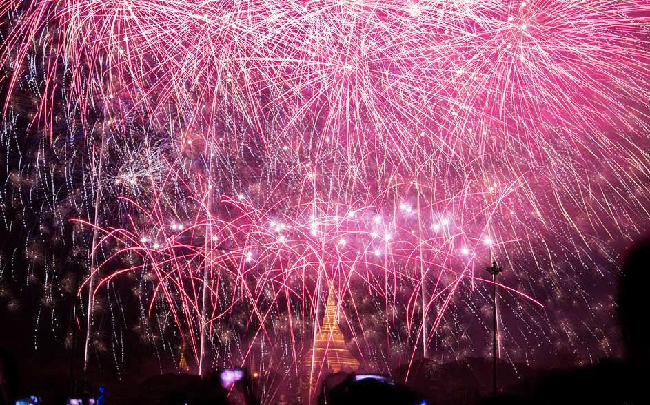 Photo du feu de clôture du festival Mingalabar